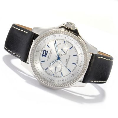 612-140 - Stührling Original Men's Targa Classic Quartz Leather Strap Watch