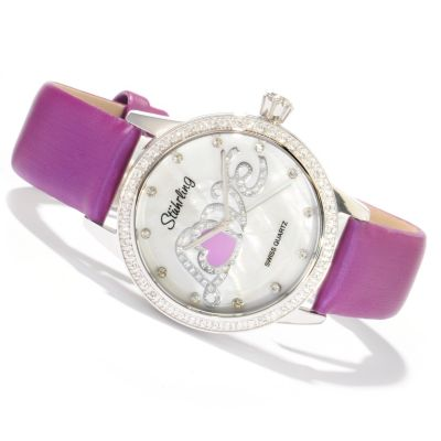 612-144 - Stührling Original Women's Hope Collection Crystal Accent Quartz Leather Strap Watch