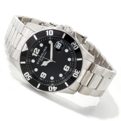 612-152 - Stührling Original Men's Clipper Diver Swiss Quartz Stainless Steel Bracelet Watch