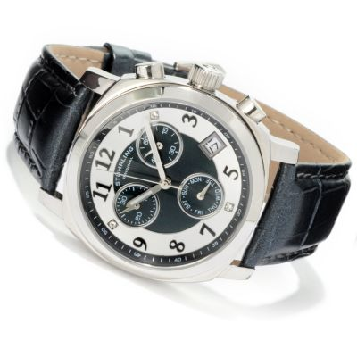 612-156 - Stührling Original Women's Fiorenza Quartz Chronograph Leather Strap Watch