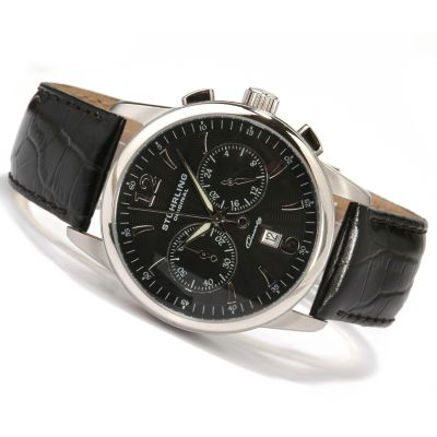 612-161 - Stührling Original Men's Elite Chronograph Leather Strap Watch
