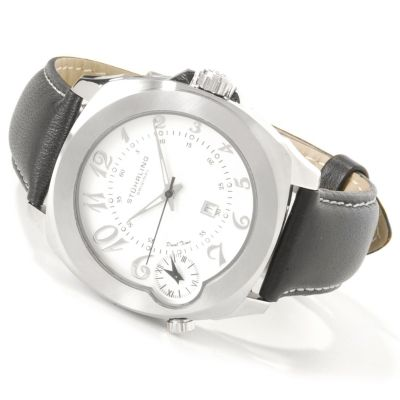 612-169 - Stührling Original Men's Piattino Di Volo Dual Time Leather Strap Watch