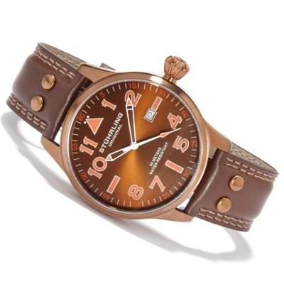 612-177 - Stührling Original Men's Eagle 2009 Edition Swiss Quartz Leather Strap Watch