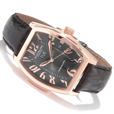 612-178 - Stührling Original Men's Waldorf Tonneau Classic Leather Strap Watch