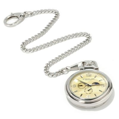 612-180 - Stührling Original Men's Monarch Moon Phase Stainless Steel Pocket Watch