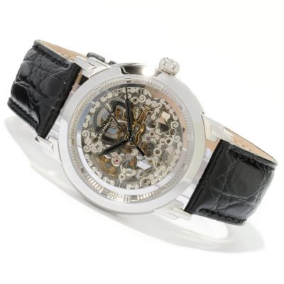 612-218 - Stührling Original Men's Winchester Skeleton Automatic Leather Strap Watch