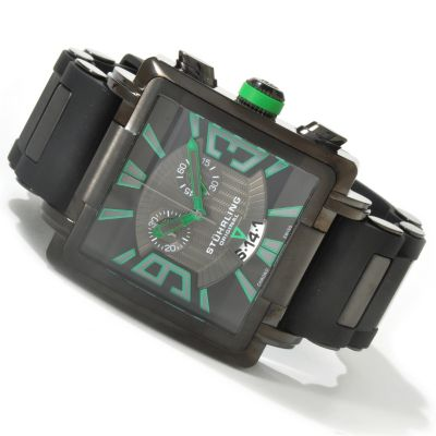612-220 - Stührling Original Men's Il Capo Quartz Chronograph Rubber Strap Watch