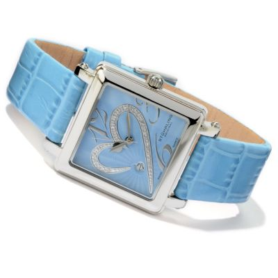 612-235 - Stührling Original Women's Courtly Passion Heart Diamond Accent Quartz Leather Strap Watch