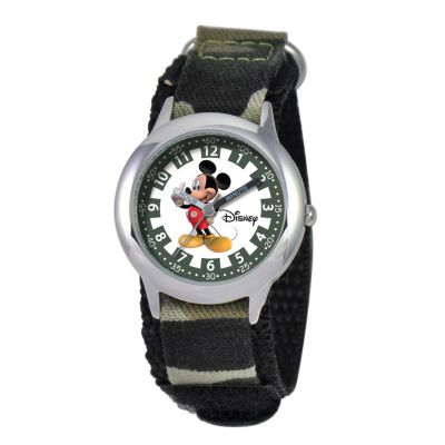 612-258 - Disney Kids Mickey Mouse Japanese Quartz Time Teacher Green Nylon Strap Watch