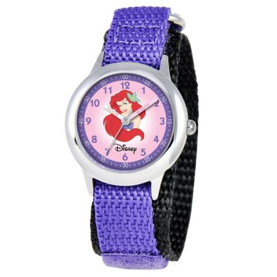 612-266 - Disney Mid-Size Kids Time Teacher Japanese Quartz Pink Dial Princess Purple Nylon Strap Watch
