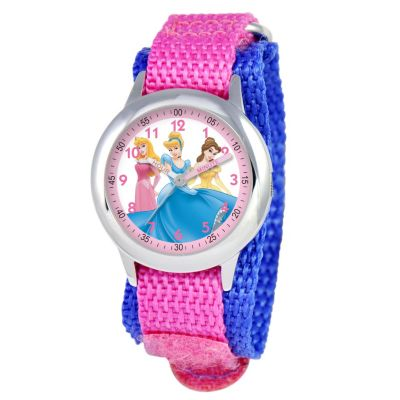 612-268 - Disney Princess Mid-Size Kids Time Teacher Japanese Quartz Pink & Blue Nylon Strap Watch