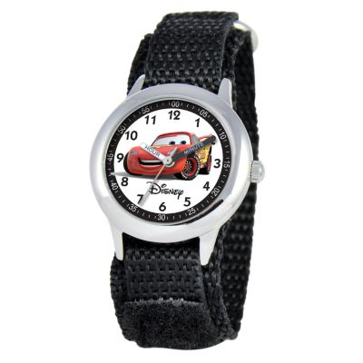 612-276 - Disney Cars Mid-Size Kids Time Teacher Japanese Quartz Black Nylon Strap Watch