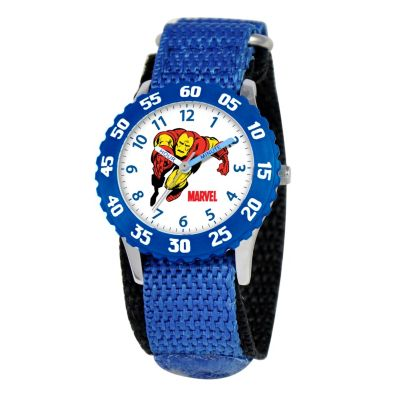 612-286 - Marvel Iron Man Mid-Size Kids Time Teacher Japanese Quartz Blue Nylon Strap Watch