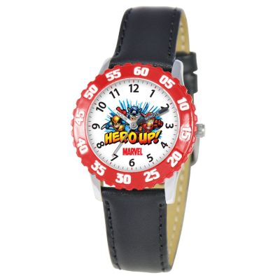 612-294 - Marvel Super Hero Squad Mid-Size Kids Time Teacher Japanese Quartz Black Leather Strap Watch
