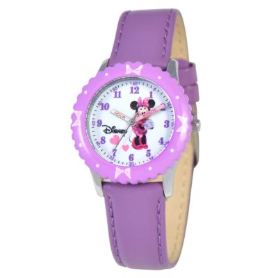 612-334 - Disney Minnie Mouse Mid-Size Kids Time Teacher Japanese Quartz Purple Leather Strap Watch