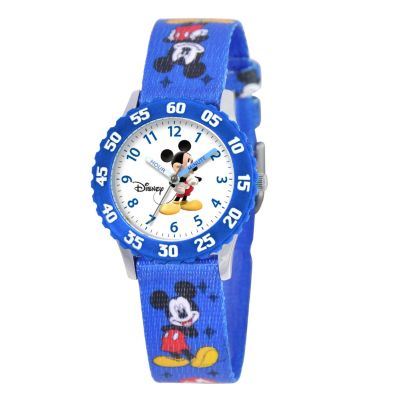 612-646 - Disney Kid's Mickey Mouse Time Teacher Quartz Blue Woven Strap Watch