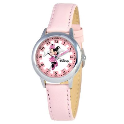 612-648 - Disney Kid's Minnie Mouse Time Teacher Quartz Pink Leather Strap Watch
