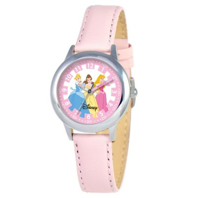 612-654 - Disney Kid's Princess Time Teacher Quartz Pink Leather Strap Watch