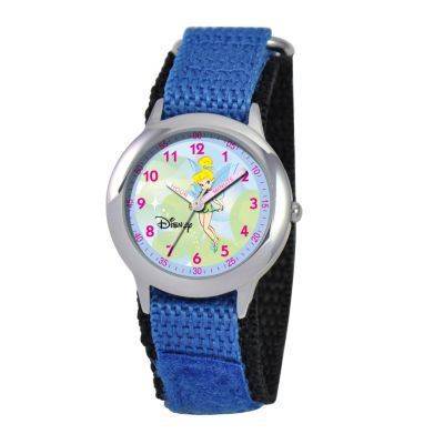 612-656 - Disney Kid's Tinker Bell Time Teacher Quartz Blue Nylon Strap Watch