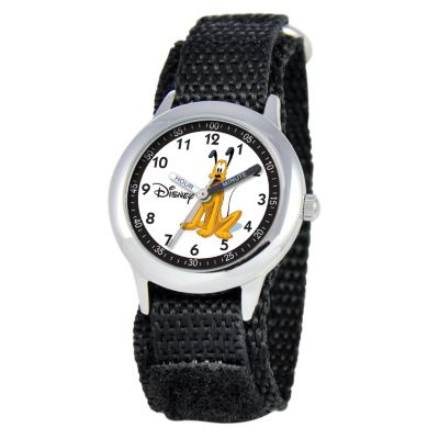612-666 - Disney Kid's Pluto Time Teacher Quartz Black Nylon Strap Watch