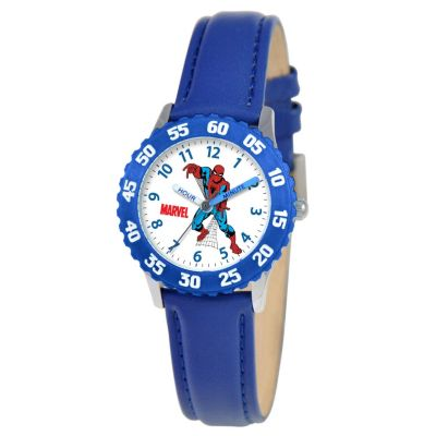 612-674 - MARVEL Kid's Spider-man Time Teacher Quartz Blue Leather Strap Watch