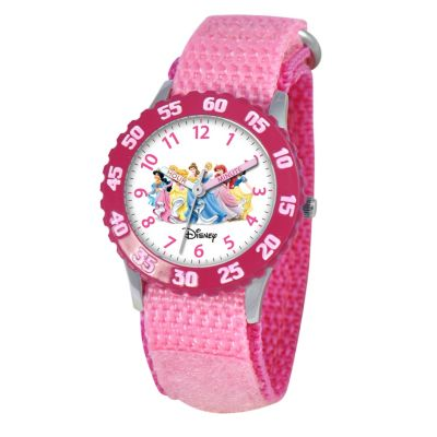 612-684 - Disney Kid's Princesses Time Teacher Quartz Pink Nylon Strap Watch