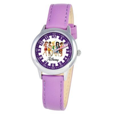 612-706 - Disney Kid's Tinker Bell & Friends Time Teacher Quartz Purple Leather Strap Watch