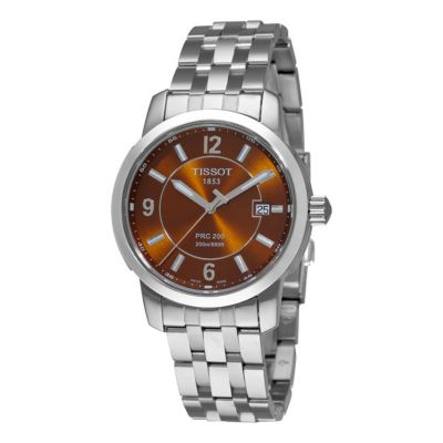 612-831 - Tissot Men's PRC 200 Swiss Quartz Brown Dial Stainless Steel Bracelet Watch