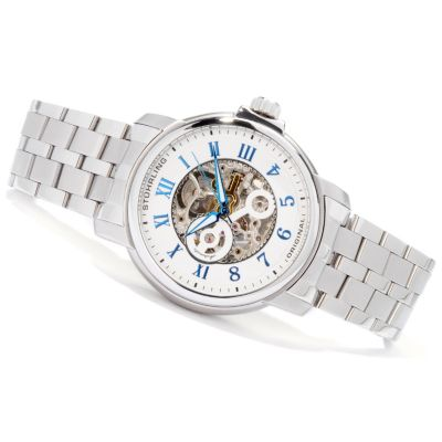 612-912 - Stuhrling Original Men's King Lear Skeleton Automatic Stainless Steel Bracelet Watch