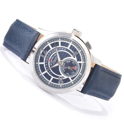 612-924 - Stührling Original Men's Baily Automatic Leather Strap Watch