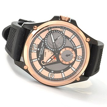 612-925 - Stührling Original Men's Atlas Automatic Power Reserve Rubber Strap Watch
