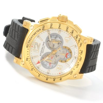 612-927 - Stührling Original Men's Olympian Chronograph Rubber Strap Watch
