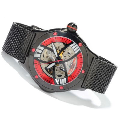 612-947 - Stührling Original Men's Alpine Slalom Skeletonized Automatic Mesh Bracelet Watch