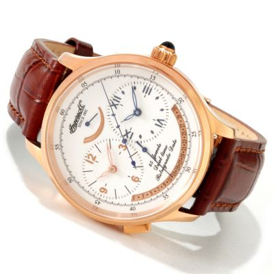 613-047 - Ingersoll Men's Pennsylvania Automatic Dual Time Leather Strap Watch