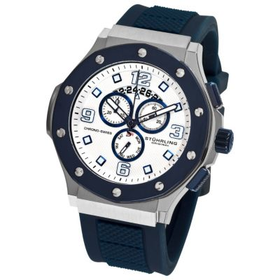613-347 - Stührling Original Men's Apocalypse Grand Quartz Chronograph Silicone Strap Watch