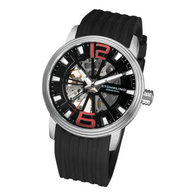 613-355 - Stührling Original Men's Automatic Delphi Achilles Rubber Strap Watch