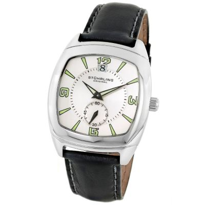 613-358 - Stührling Original Men's Quartz Princeton II Leather Strap Watch