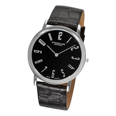 613-540 -  Stührling Original Men's Belmont Quartz Leather Strap Watch