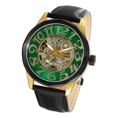 613-542 - Stührling Original Men's Viola Automatic Mechanical Skeletonized Dial Leather Strap Watch