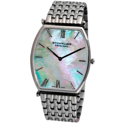 613-545 - Stührling Original Men's Meydan Quartz Mother-of-Pearl Dial Stainless Steel Bracelet Watch