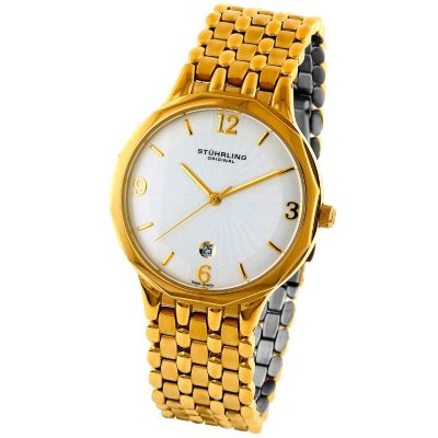613-555 - Stührling Original Men's Marquis Gentry Quartz Stainless Steel Bracelet Watch