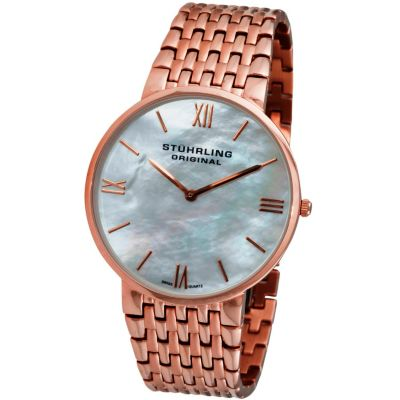 613-595 - Stührling Original Men's Meydan Concourse Quartz Mother-of-Pearl Dial Stainless Steel Watch