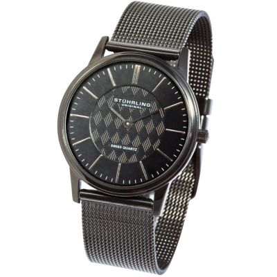 613-596 - Stührling Original Men's Newberry Quartz Stainless Steel Mesh Bracelet Watch