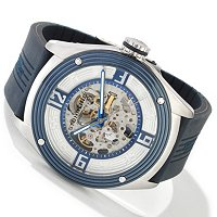 STUHRLING ORIGINAL MEN'S MILLENNIA FIVE-O AUTOMATIC SKELETON RUBBER STRAP WATCH