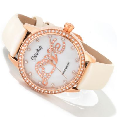 613-682 - Stuhrling Original Women's Hope Collection Leather Strap Watch Made w/ Swarovski Elements
