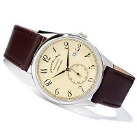 STUHRLING ORIGINAL MEN'S CUVETTE CLASSIC LEATHER STRAP WATCH