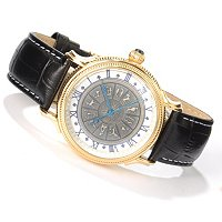 STAUER MEN'S ZODIAC QUARTZ GOLD-FUSED CASE LEATHER STRAP WATCH