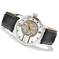 STUHRLING ORIGINAL MEN'S PROSPERO SKELETON AUTOMATIC LEATHER STRAP WATCH