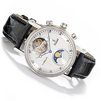 STAUER CORSICAN MECHANICAL TOURBILLON STAINLESS STEEL CASE LEATHER STRAP WATCH