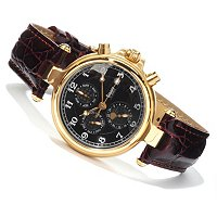 STAUER 22K GOLD FUSED NOIRE AUTOMATIC STAINLESS CASE LEATHER STRAP WATCH